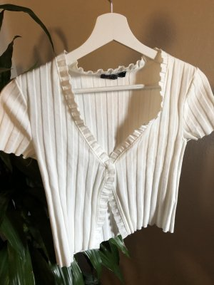 weißes geripptes shirt mit Rüschen