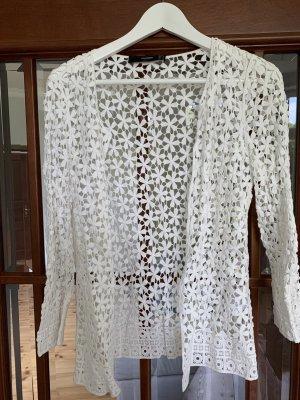 Hallhuber Cardigan en crochet blanc