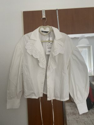 Zara Hawajska koszula biały Tkanina z mieszanych włókien