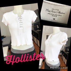 Weißes Hollister cropped Top mit Schnürung S