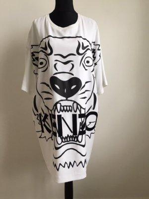 Weisses Kleid mit attraktiver Applikation in schwarz, Kenzo.