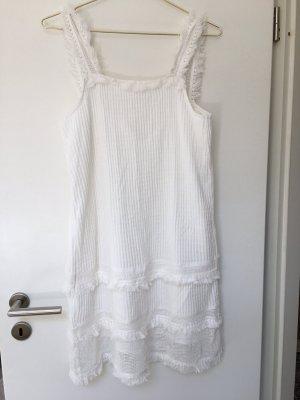 Weißes Kleid mit Fransendetails NEU