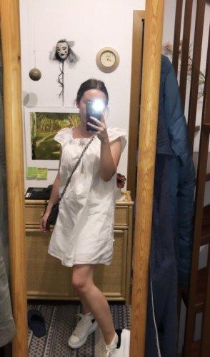 weißes Kleid mit Puffärmeln in XS von ZARA