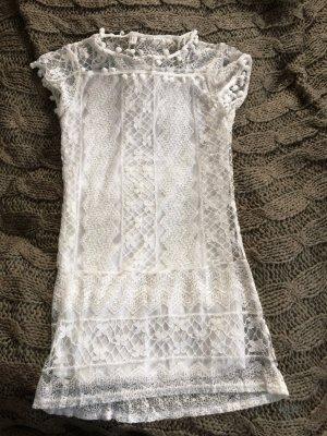 weißes Kleid mit Spitze Gr. S