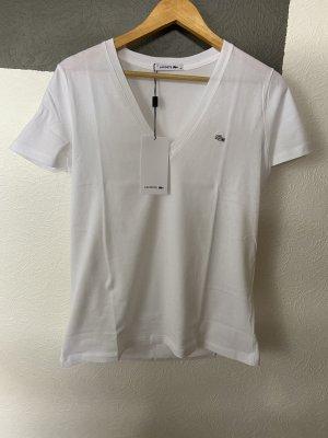 Lacoste T-shirt col en V blanc