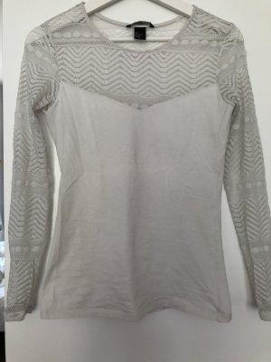 Weißes Langarm Shirt mit Spitze