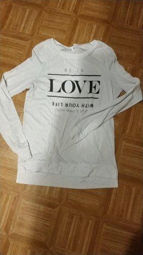 weißes langarm- Shirt/ Pulliver/ Sweatshirt, schwarzer Aufdruck