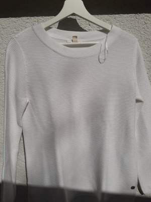 Weißes Langarmshirt mit horizontalem Rippmuster