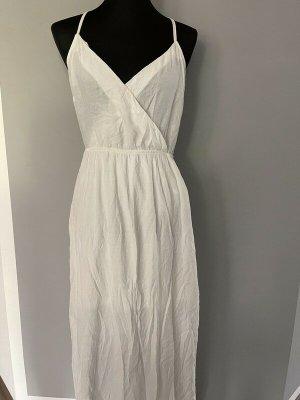 Weißes langes Kleid / Maxikleid von Stradivarius, Gr. L