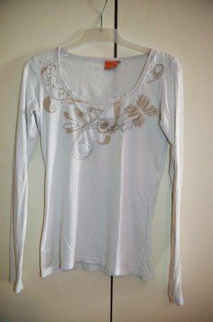 weißes langes Shirt, Langarm Shirt, Stickerei, Ripcurl