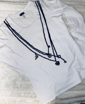 Armani Jeans Top à manches longues blanc-noir