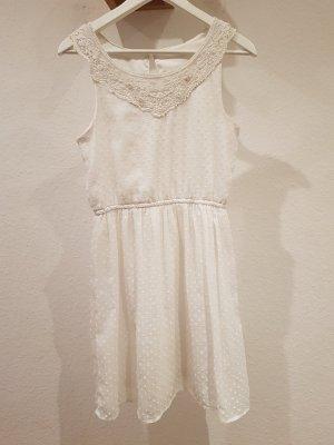 Weißes Minikleid mit weißen ❤ Polka dots ❤ 36