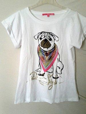 Weißes Mops Print Tshirt