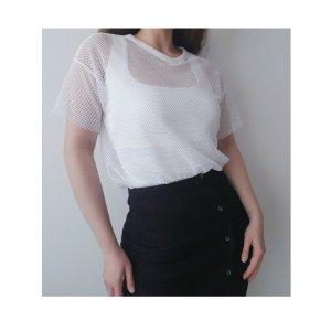 Weißes Netzshirt Bershka Gr. S / 36 T-Shirt