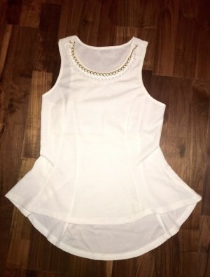 Colloseum Top peplum blanco-color oro