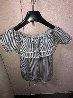Camisa de un solo hombro blanco-azul acero