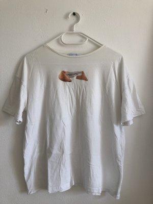 weißes oversize T-Shirt mit Print