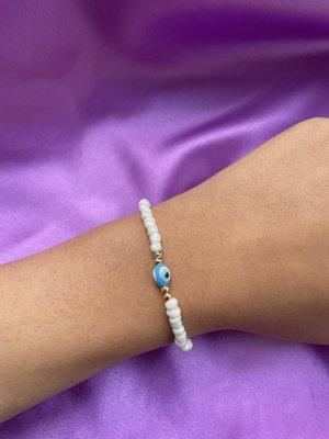 Bracelet en perles bleuet-blanc
