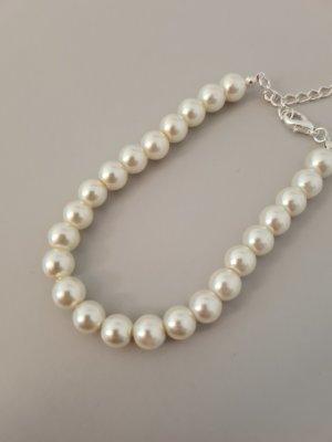 Vintage Bracelet en perles blanc
