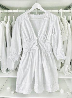 Weißes Plumetis spitzenkleid