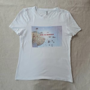 Only Shirt met print wit-azuur
