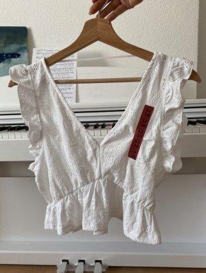 Pull & Bear Koszula o skróconym kroju biały