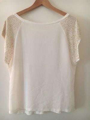 Camisa holgada blanco-color oro
