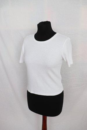 Weißes schönes geripptes Shirt von Zara Größe M