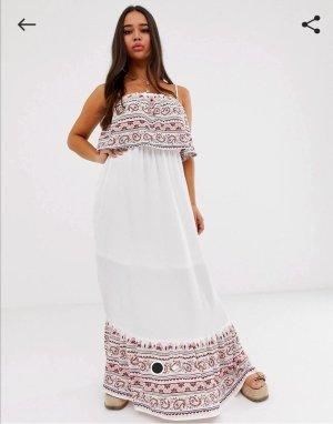 Weißes, schulterfreies Maxi Kleid mit Ethno Muster