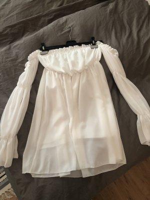 Weißes schulterfreies Sommerkleid mit Rüsschen