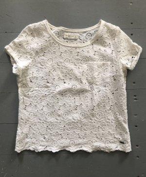 Abercrombie & Fitch Camisa de ganchillo blanco