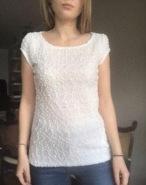 Weißes Shirt Glitzer 3D Grösse XS