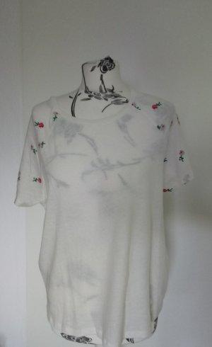 Weißes Shirt mit Blumen Armedangels M