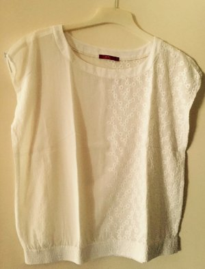 Weißes Shirt mit Blumenstickerei von Edc