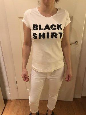 Weißes Shirt mit Glitzer-Schriftzug