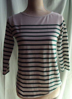 Weißes Shirt mit grünen Streifen und 3/4-Ärmel, Gr. M