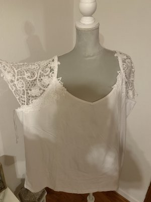 bpc selection Top en maille crochet blanc