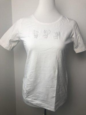 Weißes Shirt mit Kaktus Größe 38