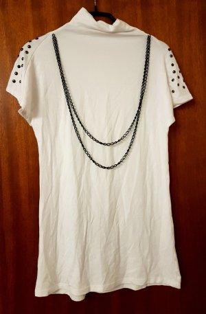 Koszulka z golfem biały-czarny