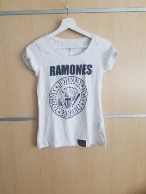 Weißes Shirt mit Ramones Logo (M)