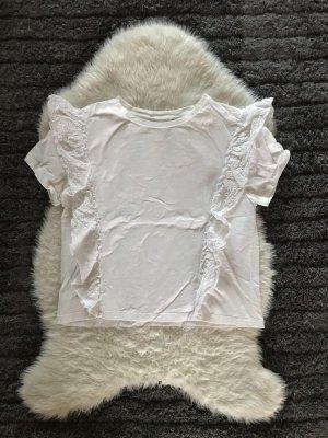 Koszula typu carmen biały Tkanina z mieszanych włókien