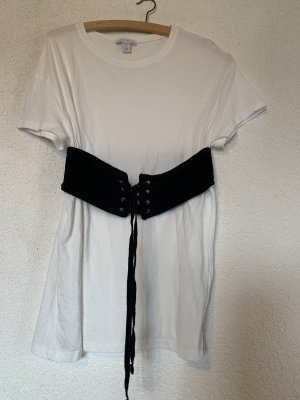 Amisu Long Shirt white-black