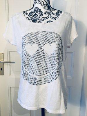 Weißes Shirt mit Smiley aus Steinchen