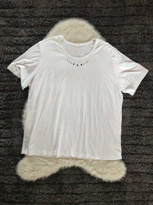 Weißes Shirt mit Steinchen blau