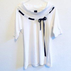 Weißes Shirt mit U-Boot-Ausschnitt schwarze Schleife XS/S 34/36