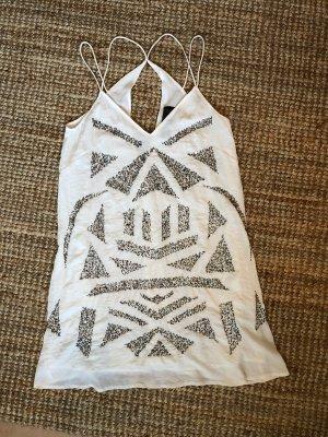 Weißes Sommerkleid Cocktailkleid Partykleid mit silbernen Pailletten