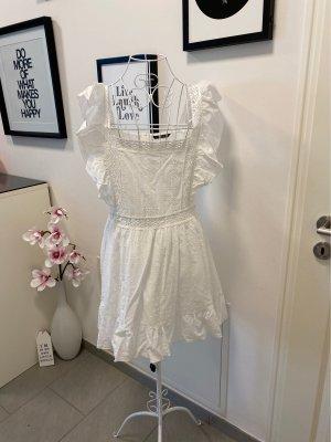 Weißes Sommerkleid mit Lochspitze