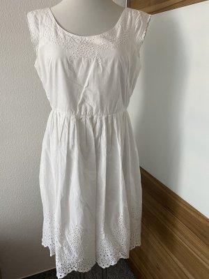 Weisses Sommerkleid mit Lochstickerei von BODEN, Gr. 40