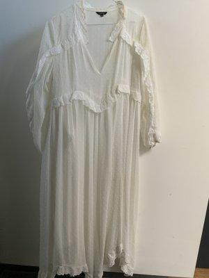 Weißes Sommerkleid mit unterziehrock 3/4 Ärmel asymmetrisch geschnitten