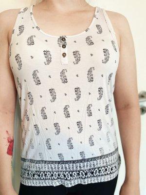 Weißes, sommerliches Kleidungsstück / Oberteil / Shirt / Top für Damen / Frauen / Mädchen mit Knöpfen und U-Ausschnitt